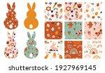 boho easter concept design ... | Shutterstock .eps vector #1927969145