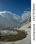 Small photo of zap river between snowy mountains