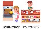 kids bakers cooking cake or pie ... | Shutterstock .eps vector #1927988312