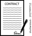 contract signing icon on white...   Shutterstock .eps vector #1927999712