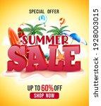 summer sale vector poster... | Shutterstock .eps vector #1928003015