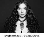 Portrait of young beautiful girl. Black and White photo - stock photo