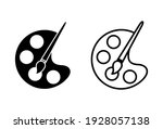 paint icon set. paint brush... | Shutterstock .eps vector #1928057138