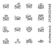 car accident line icons set ... | Shutterstock .eps vector #1928102468