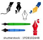 set fountain pen signs. various ... | Shutterstock .eps vector #1928102648