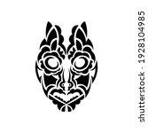 tiki face  mask or totem.... | Shutterstock .eps vector #1928104985