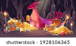 cave with red dragon and... | Shutterstock .eps vector #1928106365