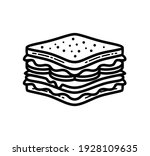 sandwich thin line icon  black... | Shutterstock .eps vector #1928109635