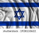 Israel flag realistic waving for design on independence day or other state holiday. 3D illustration