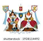 medieval king and queen sitting ...   Shutterstock .eps vector #1928114492