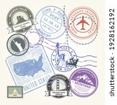 united states travel stamps set ... | Shutterstock .eps vector #1928162192