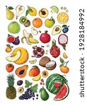 vegetables and fruits food... | Shutterstock .eps vector #1928184992