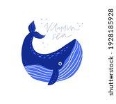 Cute Whale Flat Vector...