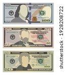 set of one hundred dollars ... | Shutterstock .eps vector #1928208722
