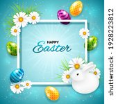 easter greeting card with frame ...   Shutterstock .eps vector #1928223812
