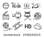 cinema decorative symbols set   ...   Shutterstock .eps vector #1928243315