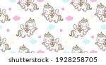 seamless pattern cute unicorn... | Shutterstock .eps vector #1928258705