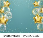 golden balloons and confetti... | Shutterstock .eps vector #1928277632