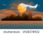 airplane fly over city. travel... | Shutterstock .eps vector #1928278922