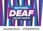 national deaf history month.... | Shutterstock .eps vector #1928350952