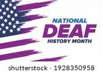 national deaf history month.... | Shutterstock .eps vector #1928350958