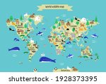 world map with continents ... | Shutterstock .eps vector #1928373395