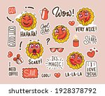 set of stickers with funny... | Shutterstock .eps vector #1928378792