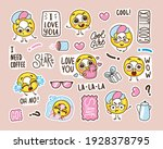 set of stickers with funny... | Shutterstock .eps vector #1928378795