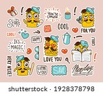 set of stickers with funny... | Shutterstock .eps vector #1928378798