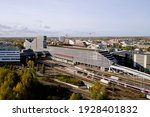 Autumn colors and Aerial View of The railway station Tikkurila Vantaa, Finland