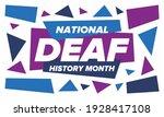national deaf history month.... | Shutterstock .eps vector #1928417108