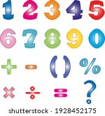 set of numbers and mathematical ... | Shutterstock .eps vector #1928452175