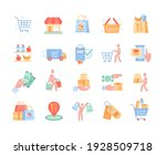 colored icons set for retail... | Shutterstock .eps vector #1928509718