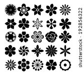black and white flowers set... | Shutterstock . vector #192856322