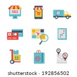 flat design icons of e commerce ...