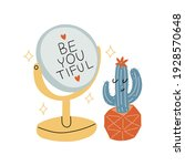 a cute happy character cactus... | Shutterstock .eps vector #1928570648