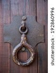 steel door knocker on wooden... | Shutterstock . vector #192860996