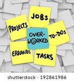 overworked word sticky note... | Shutterstock . vector #192861986