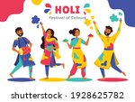 fun characters celebrate holi ... | Shutterstock .eps vector #1928625782
