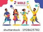 fun characters celebrate holi ... | Shutterstock .eps vector #1928625782