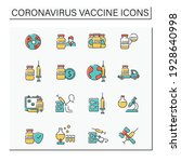 coronavirus vaccine color icons ... | Shutterstock .eps vector #1928640998
