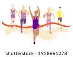 happy women running in front of ... | Shutterstock .eps vector #1928661278