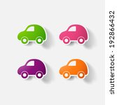 paper clipped sticker  car.... | Shutterstock .eps vector #192866432