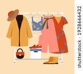 clothes hanger  garment rack ... | Shutterstock .eps vector #1928666432