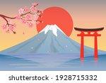mount fuji  cherry blossoms ... | Shutterstock .eps vector #1928715332