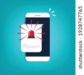 mobile phone alarm. alert file... | Shutterstock .eps vector #1928747765
