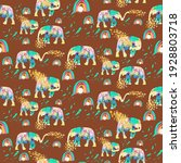 elephants playing with rainbow... | Shutterstock . vector #1928803718