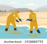 scientists in protective suits...   Shutterstock .eps vector #1928880755