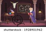 old sorcerer reading alchemy... | Shutterstock .eps vector #1928901962