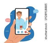 video call vector illustraton.... | Shutterstock .eps vector #1928918885